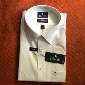 Stafford white mens button down dress shirt NWT